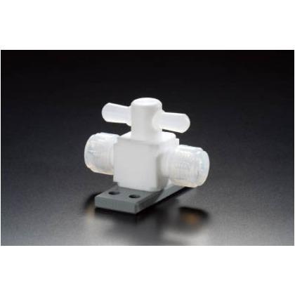 【送料無料】フロンケミカル フッ素樹脂(PTFE)二方バルブ圧入型ベース付6パイ NR1327-001