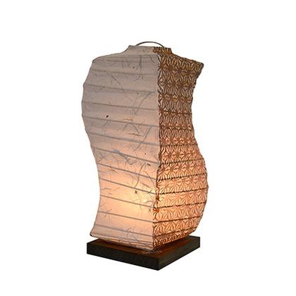 【送料無料】彩光デザイン 和風照明テーブルランプ 黒雲龍×麻葉唐茶 W120mm×D120mm×H270mm B-28
