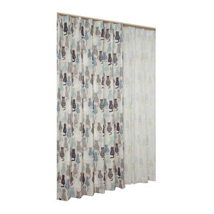 ユニベール ドレープ&レースカーテン にゃかよし ブルー 幅100×丈135cm 4枚組