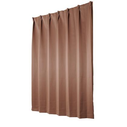 ユニベール 遮光性ドレープカーテン ベルーイ ブラウン 幅100×丈190cm 2枚組
