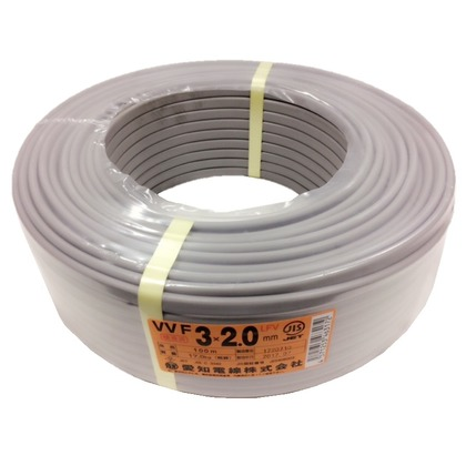 【送料無料】愛知電線 VVFケーブル600Vビニル絶縁ビニルシースケーブル 直径(mm):380.高さ(mm):12 VVF3X2.0M100