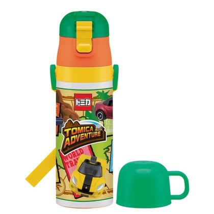 スケーター 子供用水筒ステンレスボトル直飲み&コップ付2ウェイ中栓430ml トミカ