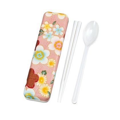 たつみや 加賀桜 布貼 スプーン箸セット ピンク