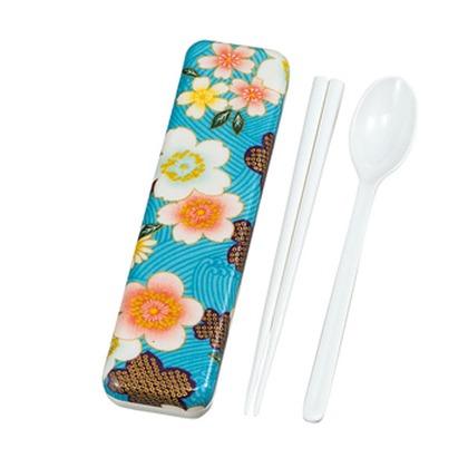 たつみや 加賀桜 布貼 スプーン箸セット ブルー
