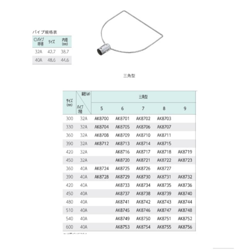 ステンレス製玉枠SP型三角型 40A8×390