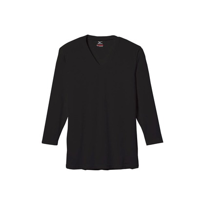 メンズ・ブレスサーモエブリ・Vネック長袖シャツ ブラック M C2JA560109M