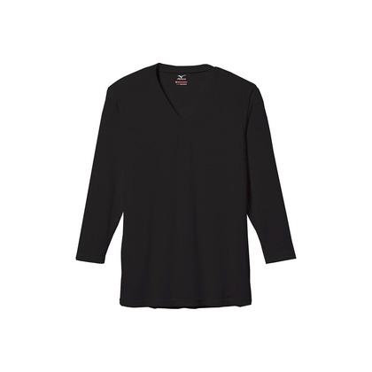 メンズ・ブレスサーモエブリ・Vネック長袖シャツ ブラック LL C2JA560109LL