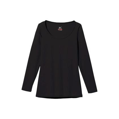 ミズノ レディース・ブレスサーモエブリ・ラウンドネック長袖シャツ ブラック L C2JA580109L