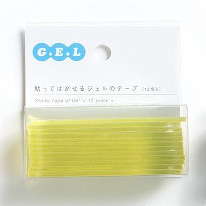 貼ってはがせるジェルのテープ[ドット]・丸カドテープ イエロー 幅72×高20×厚2? GTDM004 12 枚
