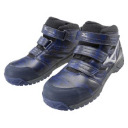 【送料無料】ミズノ 作業靴 オールマイティLSミッドカットタイプ ネイビー×シルバー×ブラック 25.5cm C1GA180214255 0