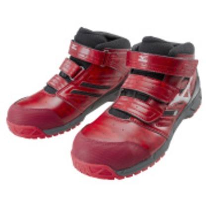作業靴 オールマイティLSミッドカットタイプ レッド×シルバー×ブラック 24.5cm C1GA180262245