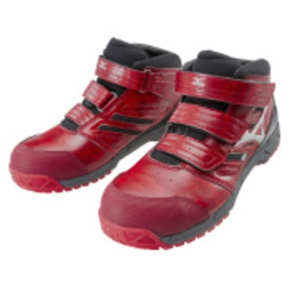 ミズノ 作業靴 オールマイティLSミッドカットタイプ レッド×シルバー×ブラック 25.5cm C1GA180262255