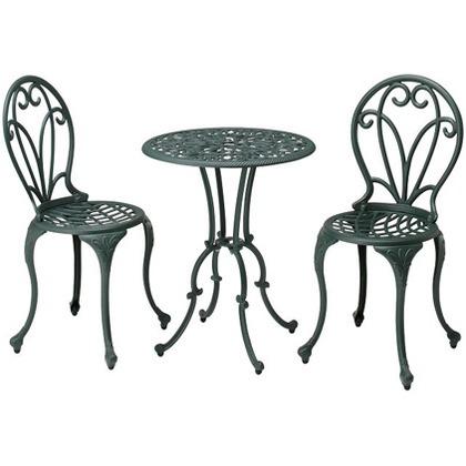 【送料無料】GADIS フロール カフェテーブル 3点セット グリーン  IGF-TS01  ガーデンテーブル・チェアガーデンファニチャー