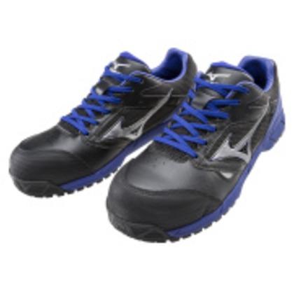 ミズノ 作業靴 オールマイティLSヒモ ブラック×シルバー×ブルー 25.5cm C1GA170009255