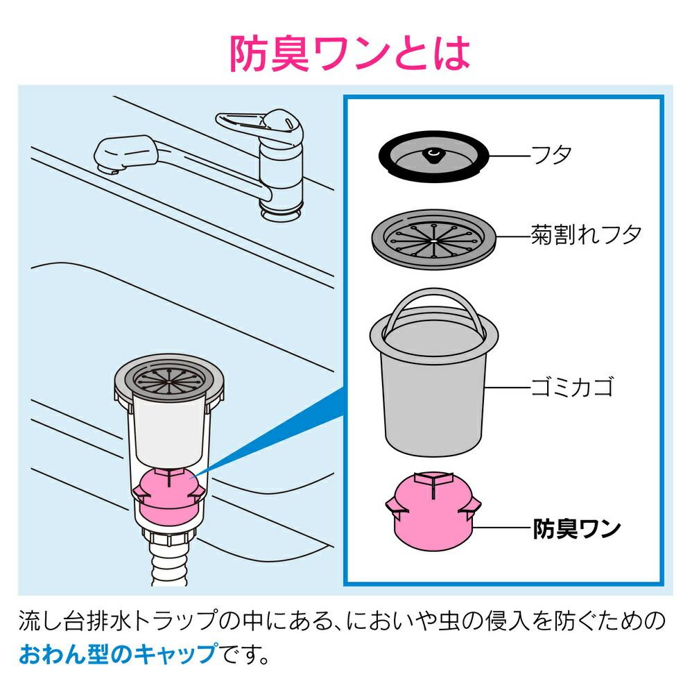シンク用 排水口のトラップワン (防臭ワン 取替用)