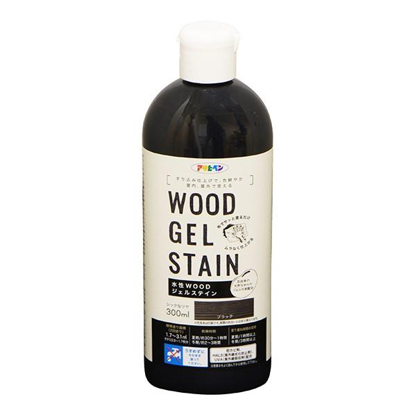 アサヒペン WOODジェルステイン 水性塗料 ブラック 300ml