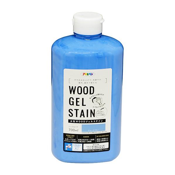 アサヒペン WOODジェルステイン 水性塗料 チョークブルー 700ml