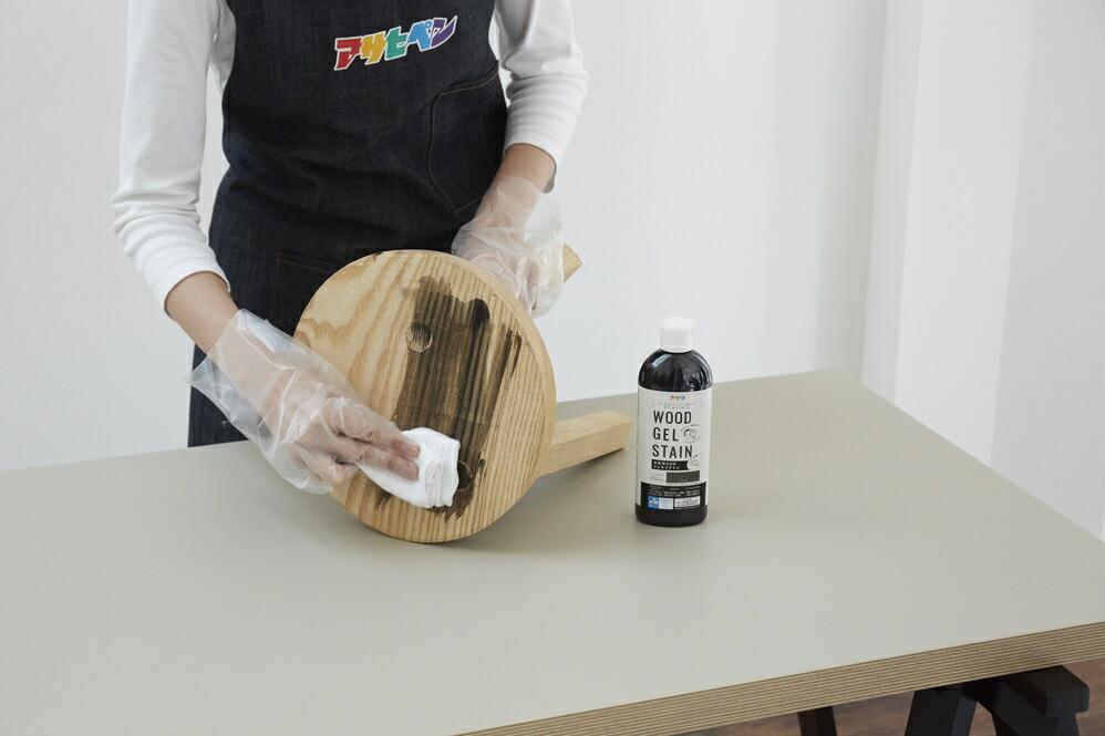 アサヒペン WOODジェルステイン 水性塗料 ブラック 1.6L