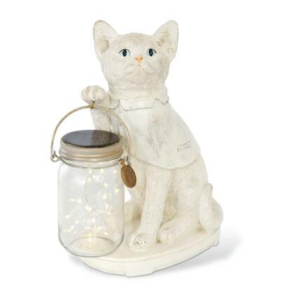 キシマ アニマルコンシェルジュ ネコ CAT LED ガーデンライト ソーラー 防水 クリア ホワイト サイズ:幅20×奥行13×高さ28cm KL-
