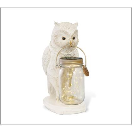 キシマ アニマルコンシェルジュ フクロウ OWL LED ガーデンライト ソーラー 防水 クリア ホワイト サイズ:幅12.5×奥行19.5×高さ27