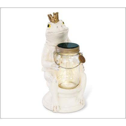 アニマルコンシェルジュ カエル frog LED ガーデンライト ソーラー 防水 クリア ホワイト サイズ:幅14.5×奥行16×高さ29.5cm KL-10342
