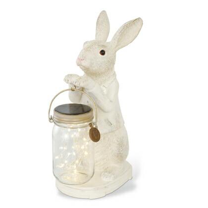 キシマ アニマルコンシェルジュ ウサギ rabbit LED ガーデンライト ソーラー 防水 クリア ホワイト サイズ:幅12×奥行17×高さ31.5