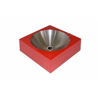 【送料無料】SENSUI(泉水) FRPアールパンスクエアー レッド 本体 W400×D400×H125mmパン φ350×H200(深さ100)mm 416R