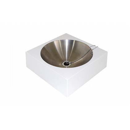 【送料無料】SENSUI(泉水) FRPアールパンスクエアー ホワイト 本体 W400×D400×H125mmパン φ350×H200(深さ100)mm 416W