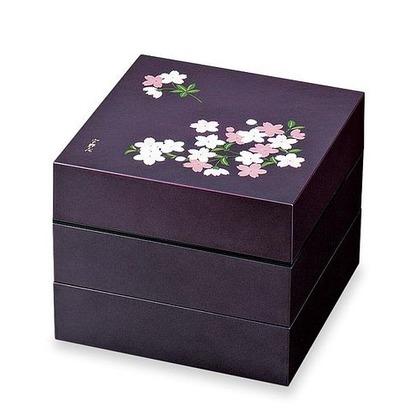正和 お重・お弁当箱 ランチボックス 宇野千代 オードブル重 3段 あけぼの桜  紫