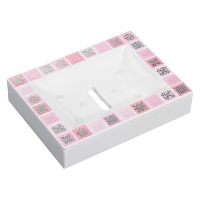 素地のナカジマ ピアストレラ 白×ピンク 角型 ソープディッシュ