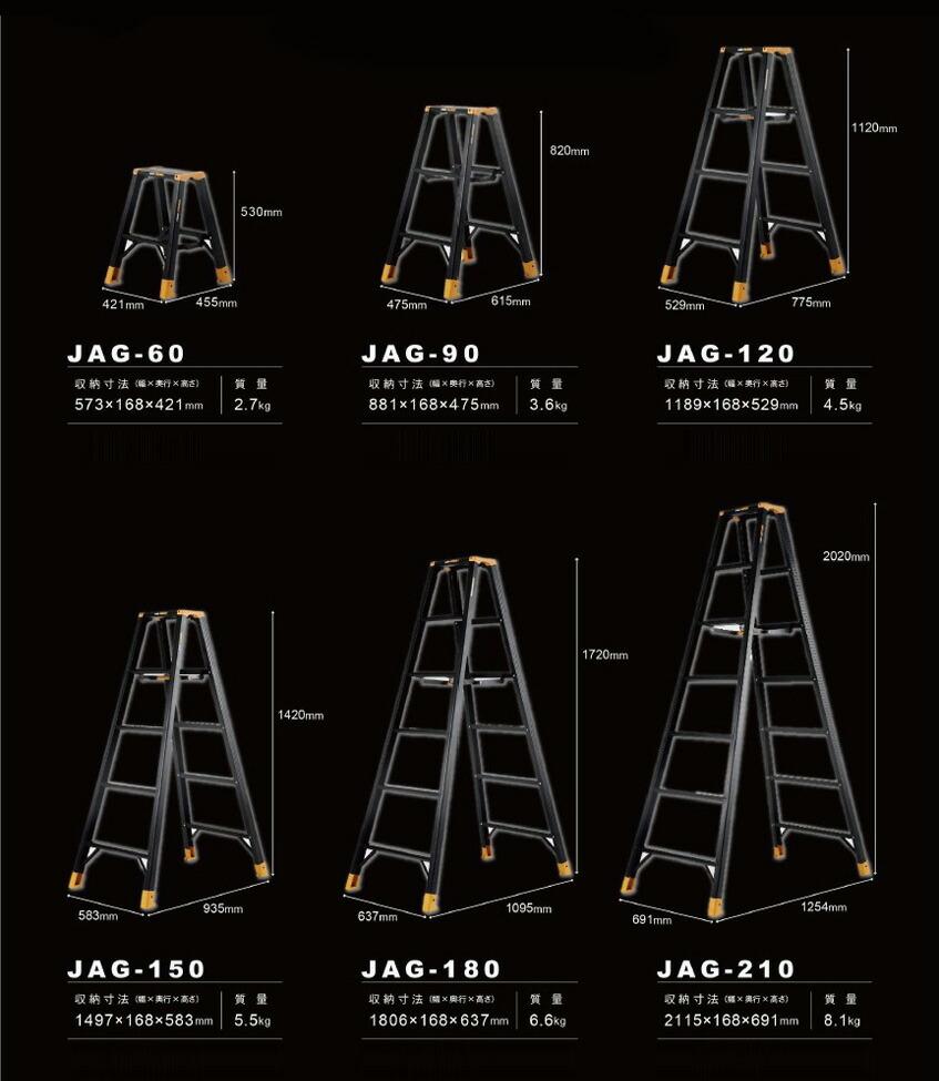 アルインコ/ALINCO 静音脚立 ジャガー ブラックアルマイト 7尺(2020mm) JAG210B