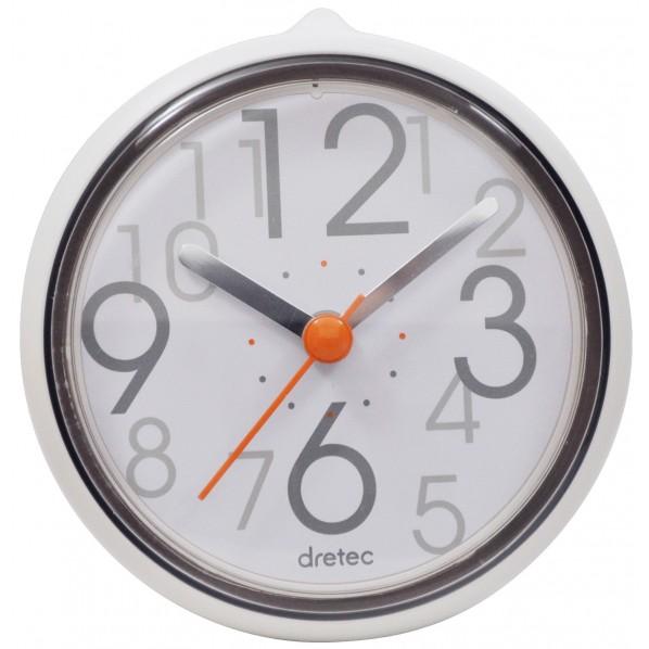 ドリテック dretec おふろクロック スパタイム 防滴時計 吸盤・スタンド付き ホワイト 約 幅10.7×奥行10.1×高さ4.5cm  C-11