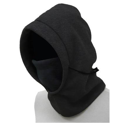 喜多 防風フリースフェイスマスク フリースフード ブラック フリー No9350
