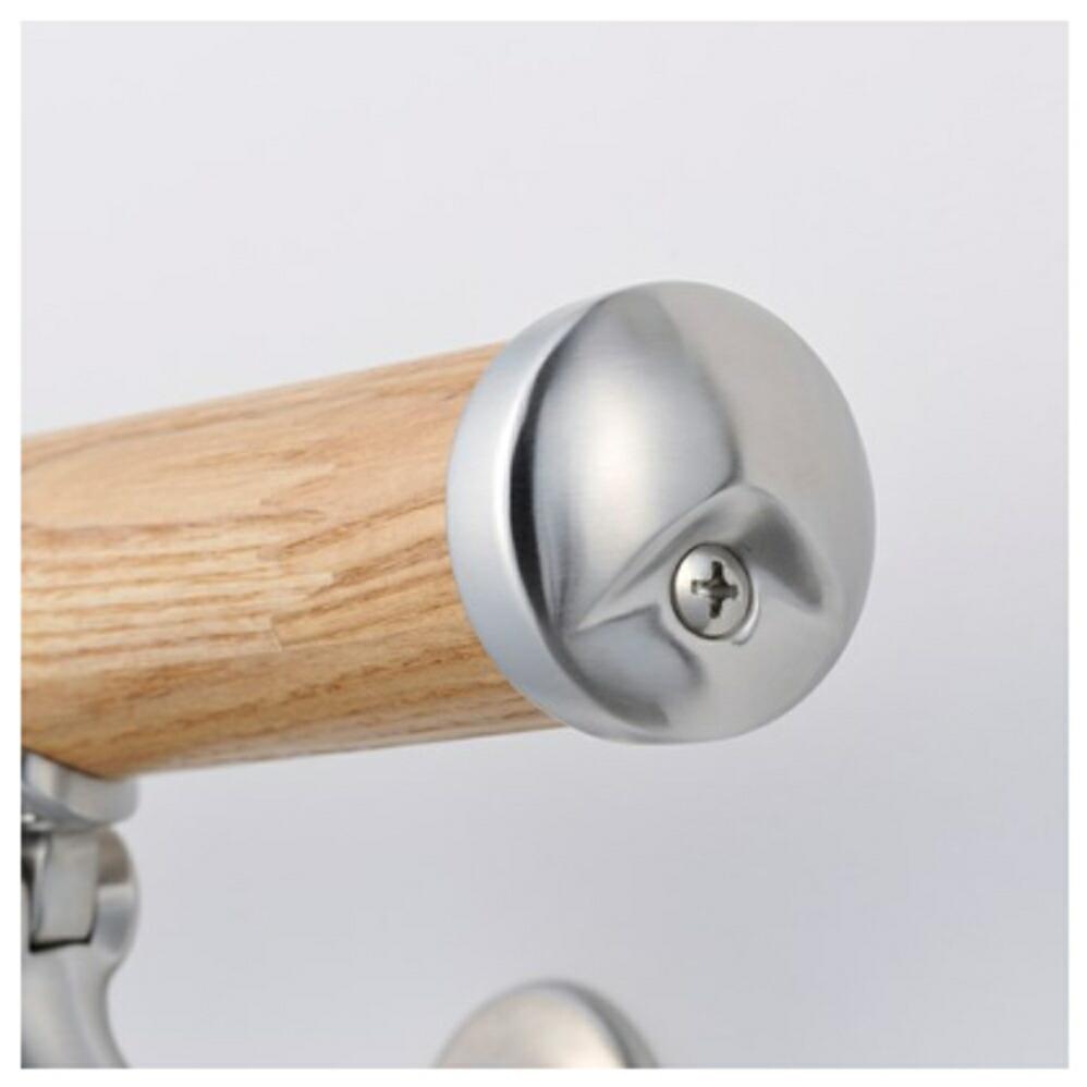 木製壁付手摺 自在L型ブラケット仕様(ヘアライン)
