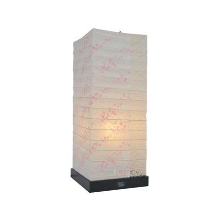 【送料無料】彩光デザイン 日本製和紙照明 和風照明フロアランプ/テーブルランプ garden 花うさぎピンク×小梅白 W190mm×D190mm×H480mm S