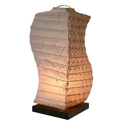 【送料無料】彩光デザイン 日本製和紙照明 和風照明テーブルランプ 黒雲龍×麻葉唐茶  W120mm×D120mm×H270mm B-28