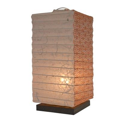 【送料無料】彩光デザイン 日本製和紙照明 和風照明テーブルランプ 落水雲龍×麻葉煉瓦 W120mm×D120mm×H270mm B-27