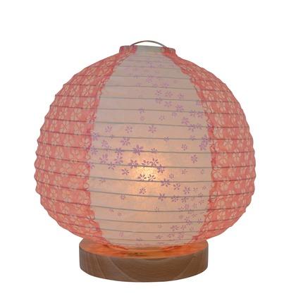 【送料無料】彩光デザイン 日本製和紙照明 和風照明テーブルランプ 花舞ピンク×小梅赤 Φ210mm×H210mm SS-3020 0
