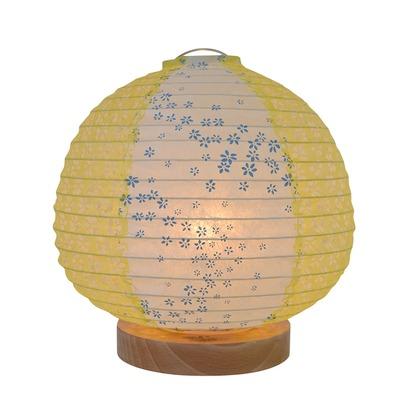 【送料無料】彩光デザイン 日本製和紙照明 和風照明テーブルランプ 花舞藍×小梅イエロー Φ210mm×H210mm SS-3020 0