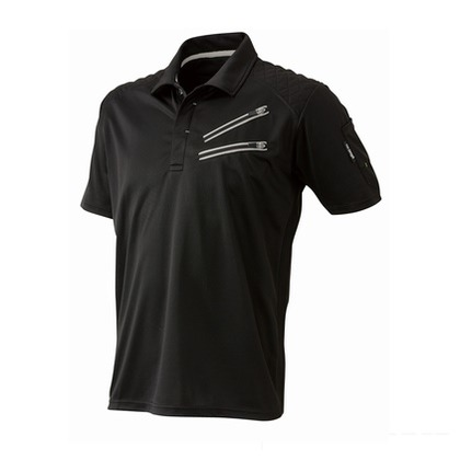 Thetough ベンチレーション半袖ポロシャツ ブラック L 152-15 半袖ポロシャツ 襟ワイヤー 吸汗速乾