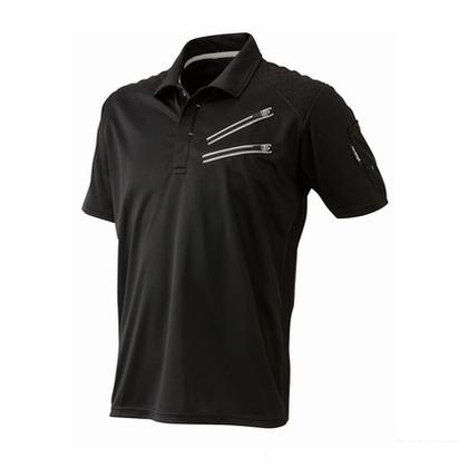 Thetough ベンチレーション半袖ポロシャツ ブラック LL 152-15 半袖ポロシャツ 襟ワイヤー 吸汗速乾