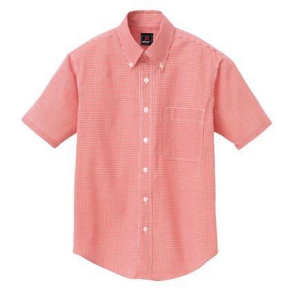 アイトス 半袖ギンガムチェックボタンダウンシャツ(男女兼用) 009レッド SS 7825-009-SS