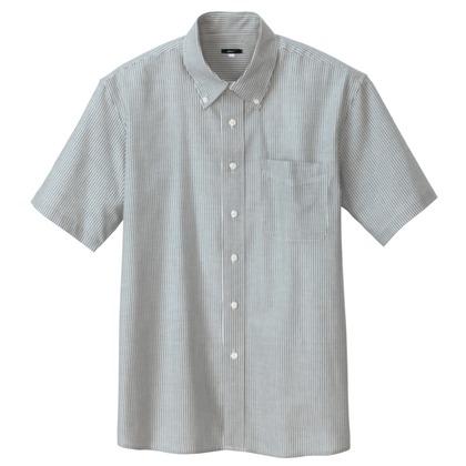 アイトス メンズ半袖オックスボタンダウンシャツ 104グレーストライプ M 7872-104-M