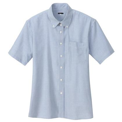 アイトス レディース半袖オックスボタンダウンシャツ 107サックスストライプ LL 7873-107-LL