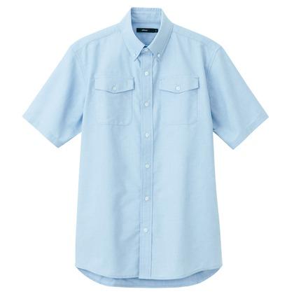 アイトス メンズ半袖オックスボタンダウンシャツ(両ポケットフラップ付) 007サックス M 7878-007-M