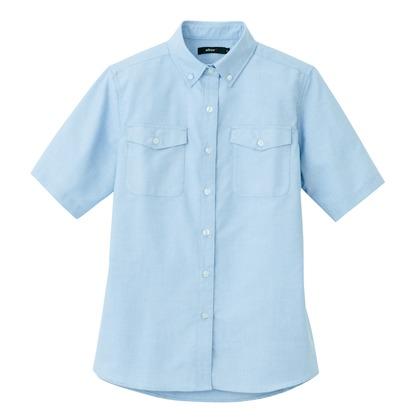アイトス レディース半袖オックスボタンダウンシャツ(両ポケットフラップ付) 007サックス M 7879-007-M