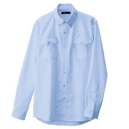 アイトス メンズ長袖オックスボタンダウンシャツ(両ポケットフラップ付き) 007サックス M 7880-007-M