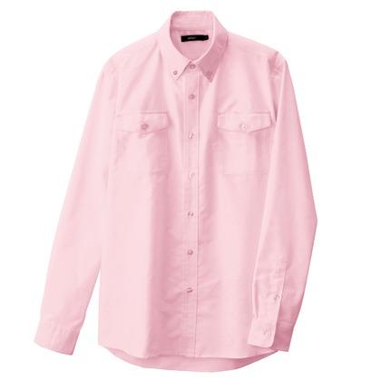 アイトス メンズ長袖オックスボタンダウンシャツ(両ポケットフラップ付き) 060ピンク 5L 7880-060-5L