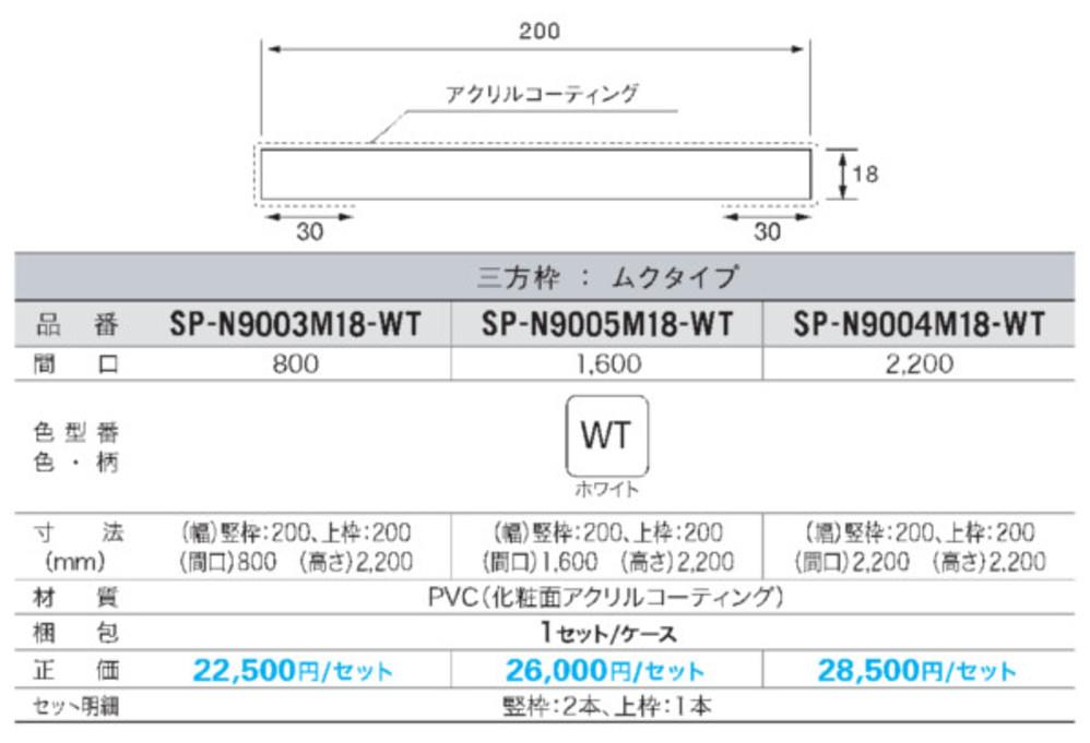樹脂製ドア枠(三方枠セット/18mmタイプ)