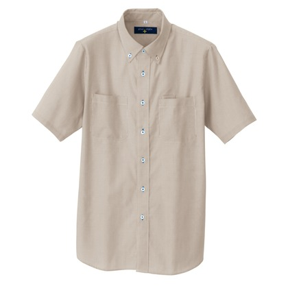 アイトス 半袖ボタンダウンシャツ(コードレーン)(男女兼用) 122モカ 3S 50402-122-3S